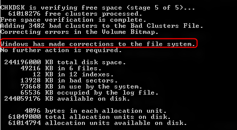 chkdsk bad sectors