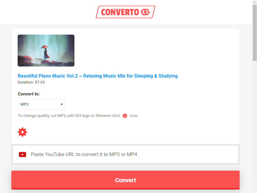 click convert to download mp3 in converto