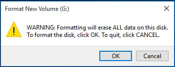 click ok to format sd card