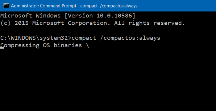 compact compactosalways in command prompt