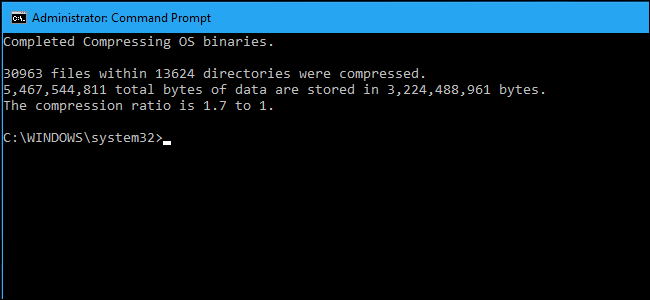 compression ratio in command prompt