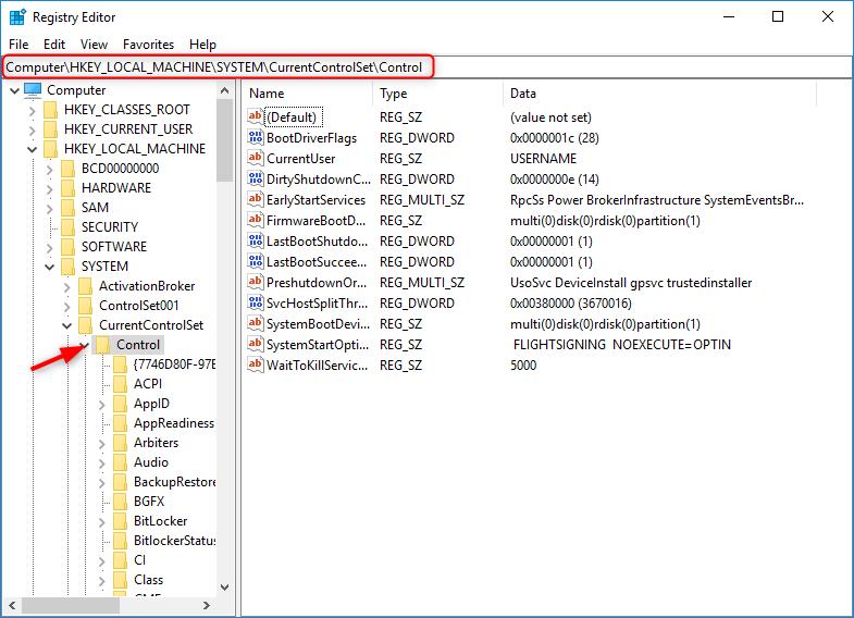 control in registry editor