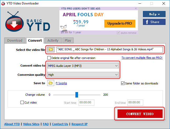 convert to mp3 by YTD video downloader