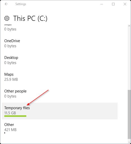 delete temporary files in C disk