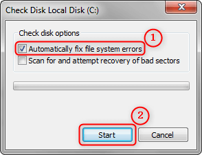 enable fix file system errors