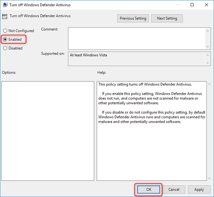 click enable to turn off windows defender