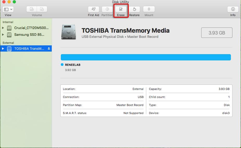 erase disk in disk utility in mac