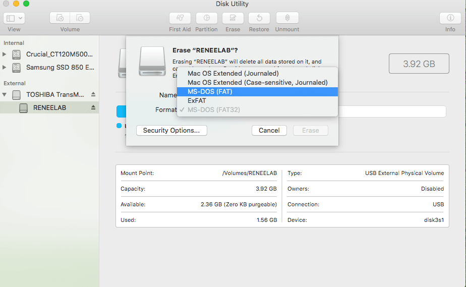 select format disk and change new format in mac