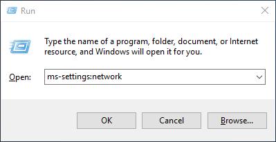 type in ms-settingsnetwork
