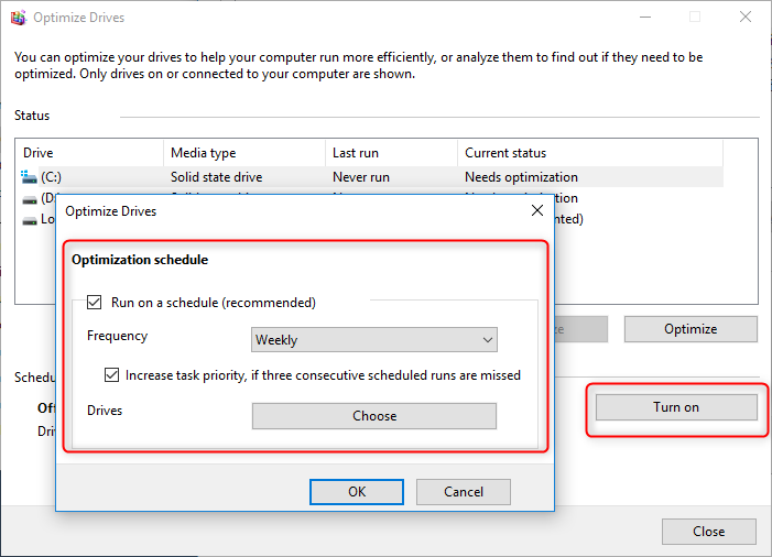 set the optimization schedule to optimize drive