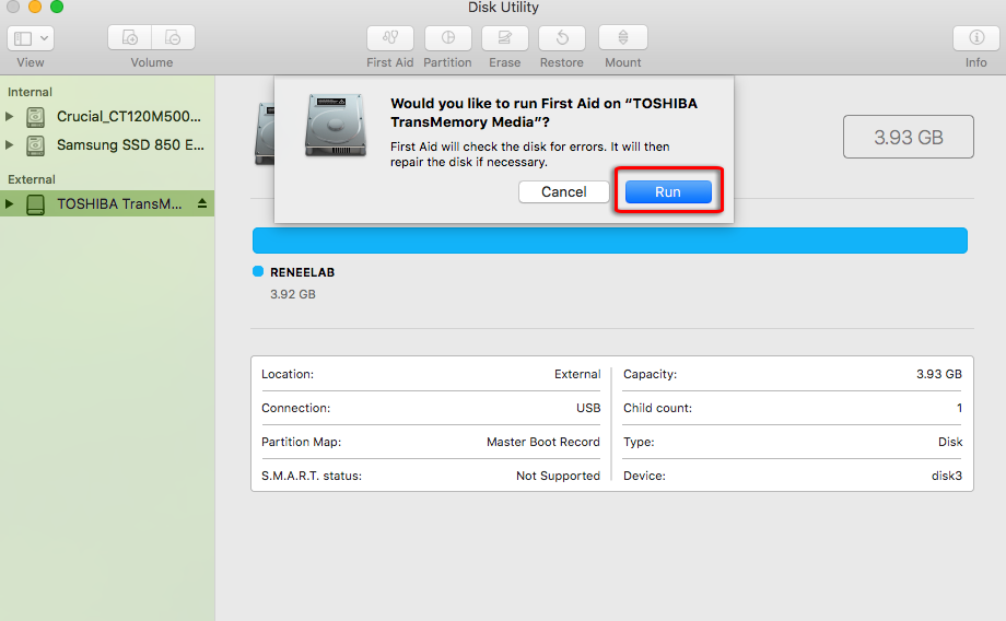 run first aid in mac disk utility