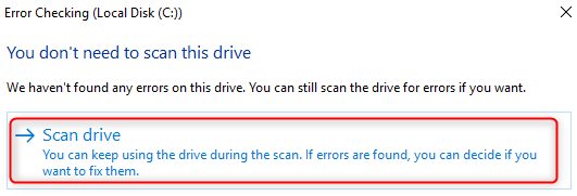 scan drive on Windows 8/10