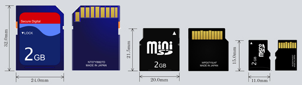 different sd card sizes and types