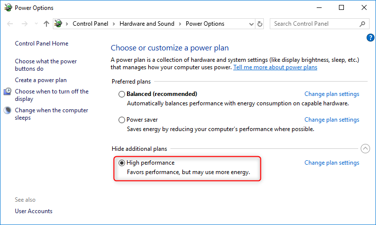 select high performance in power plan