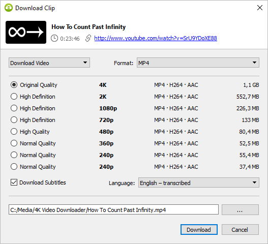 select mp3 and download in download clip