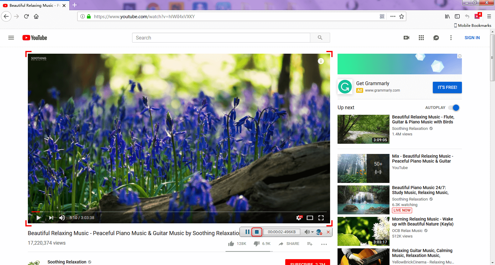 click the square button to stop recorording video on YouTube