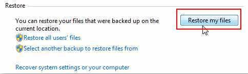 Restore Windows 7 files