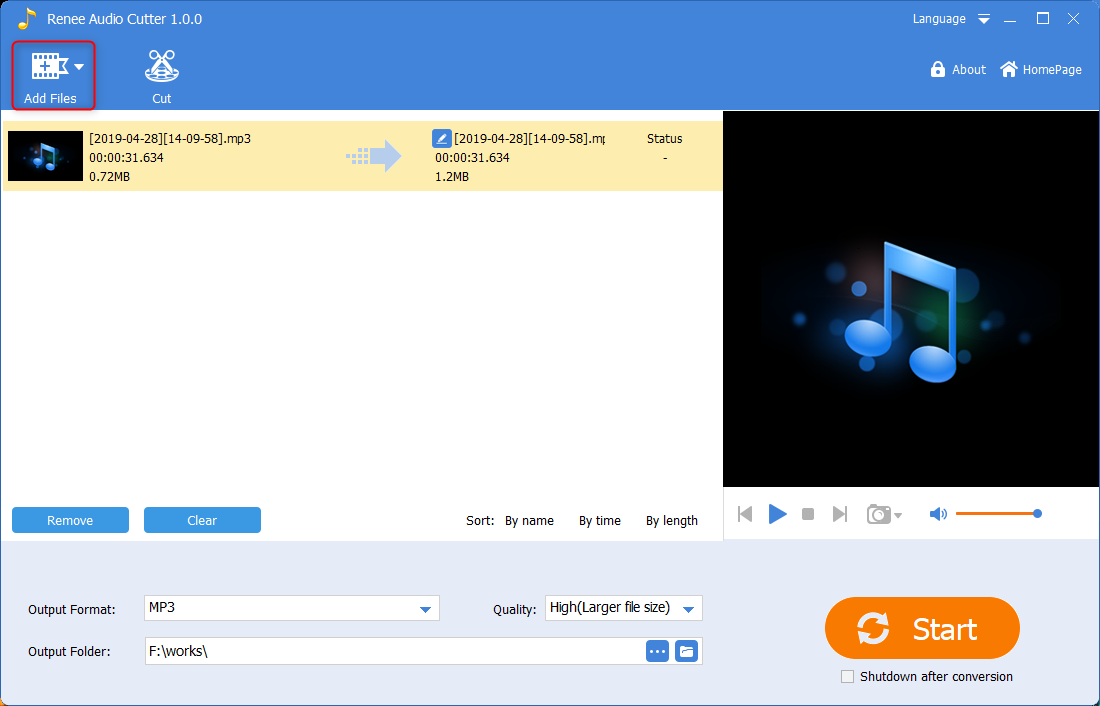 click to add audio files in renee audio tools