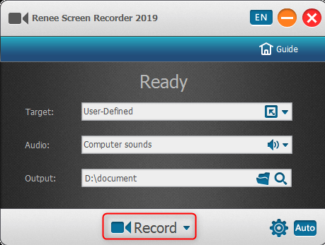 click to beign screen recording in Renee Screen Recorder