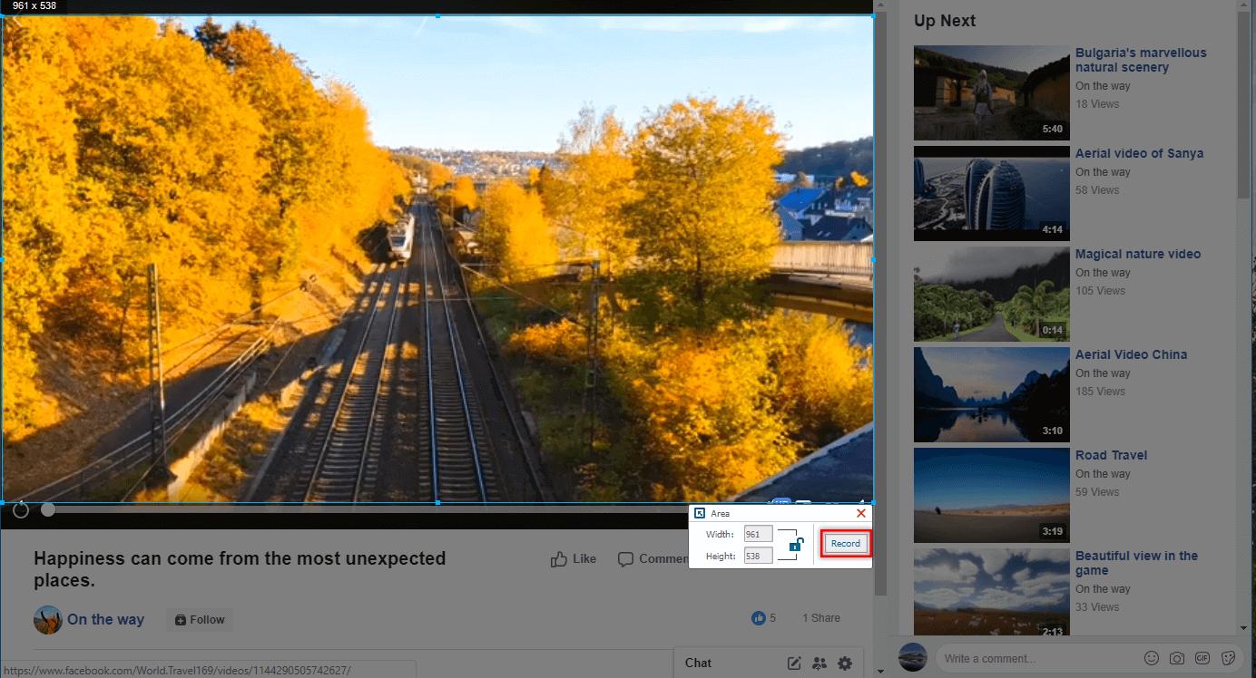 click record button to record facebook video