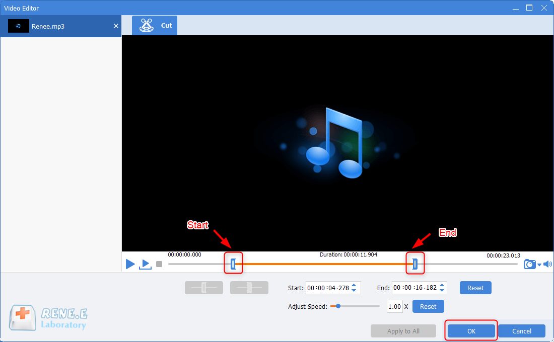 set start and end time to cut mp3