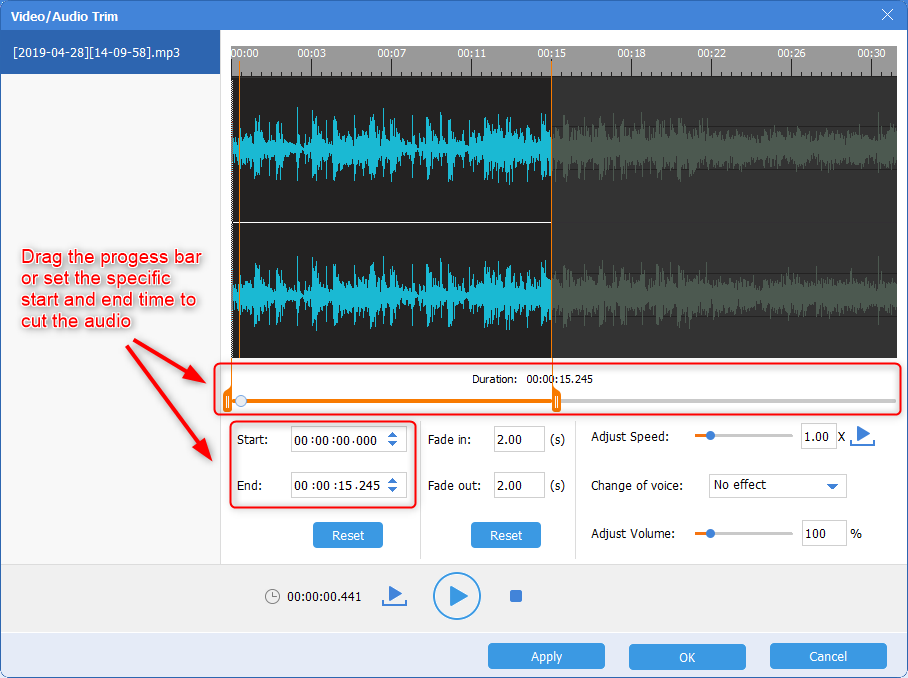 cut the audio in renee audio tools