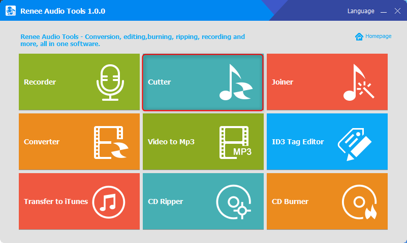 click cutter to cut music in renee audio tools