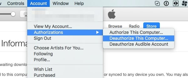 Deauthorize iTunes in computer