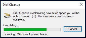 scanning in disk cleanup