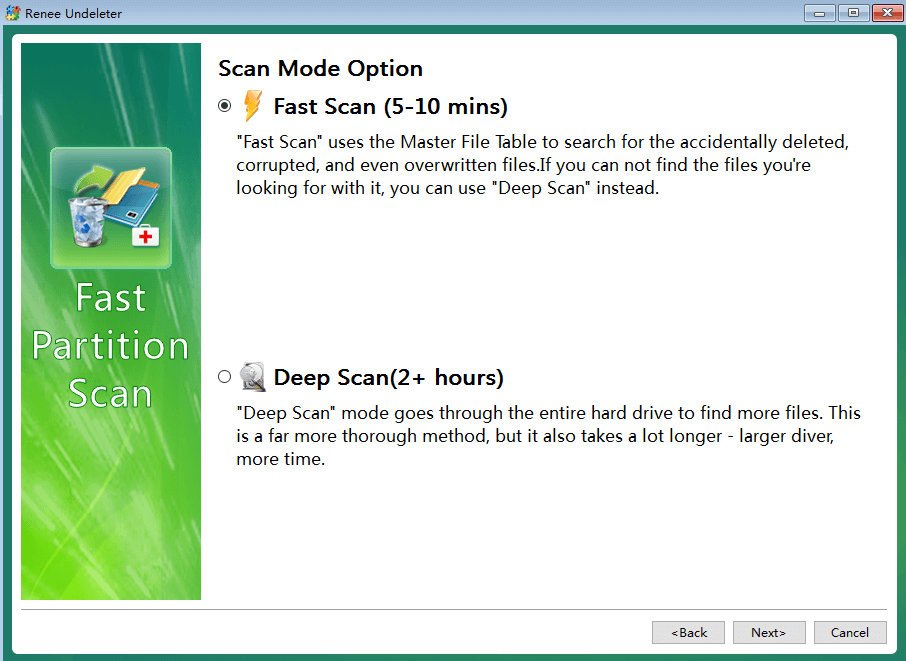 Fast scan function of Renee Undeleter