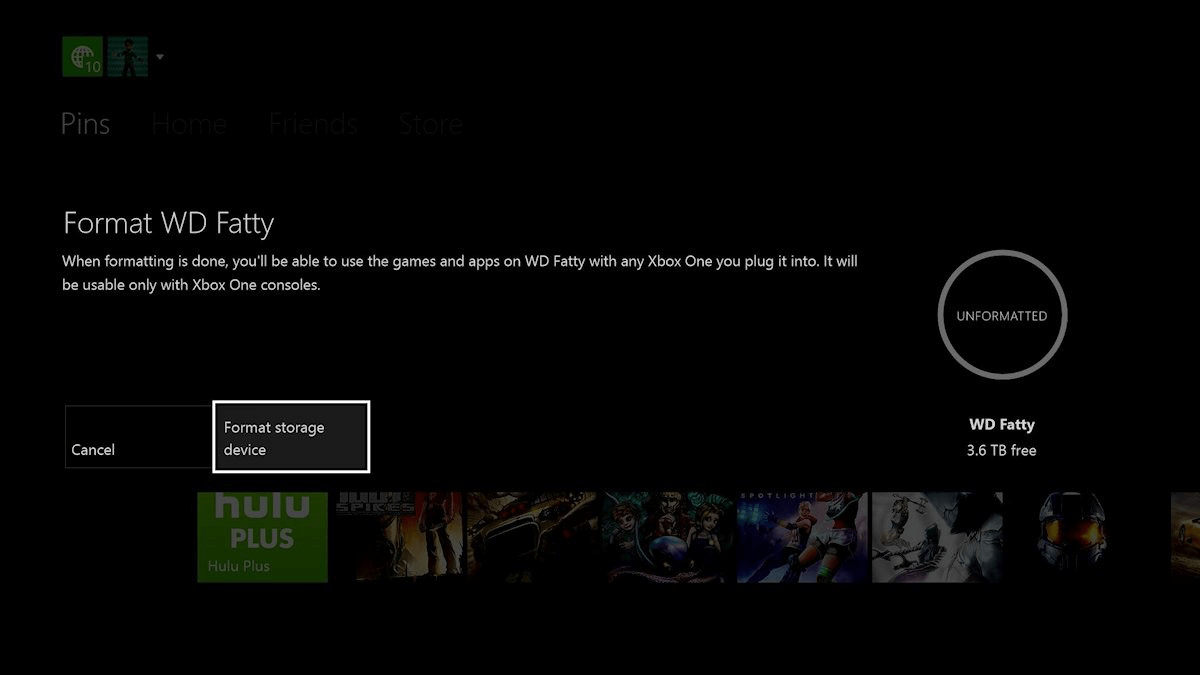 format sotrage device in xbox one