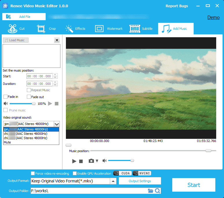 select the original video sounds in Renee Video Editor