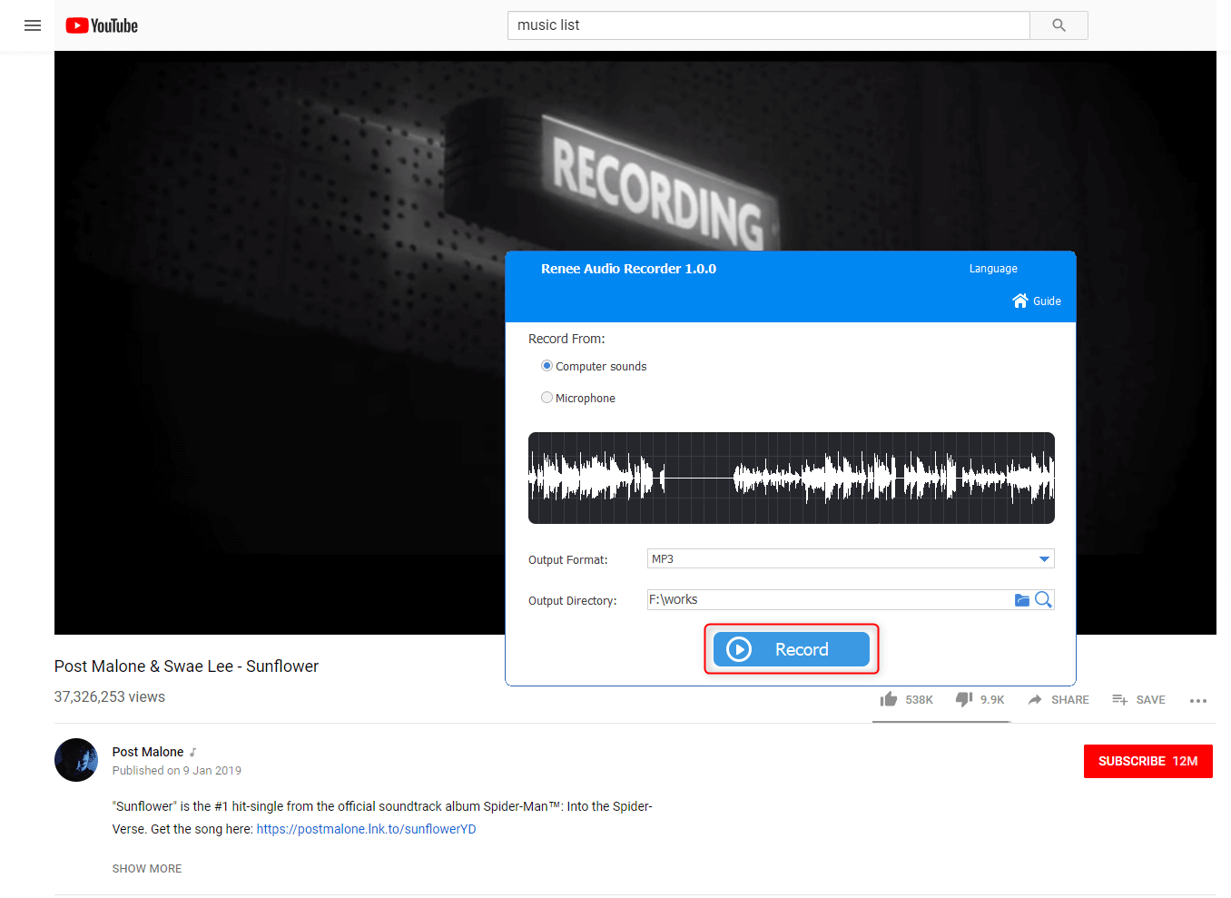 click to record youtube playlist in renee audio tools