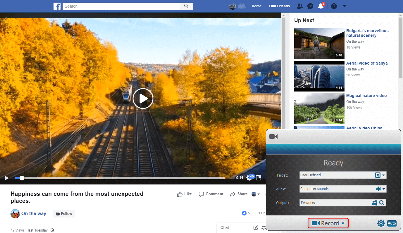 record facebook video with renee screen recorder