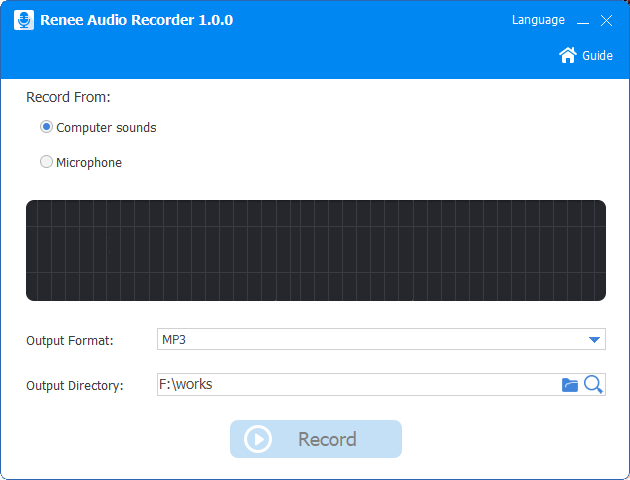 set computer sounds before recording in renee audio tools