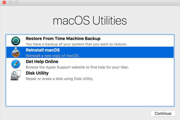 reinstall to factory reset macos