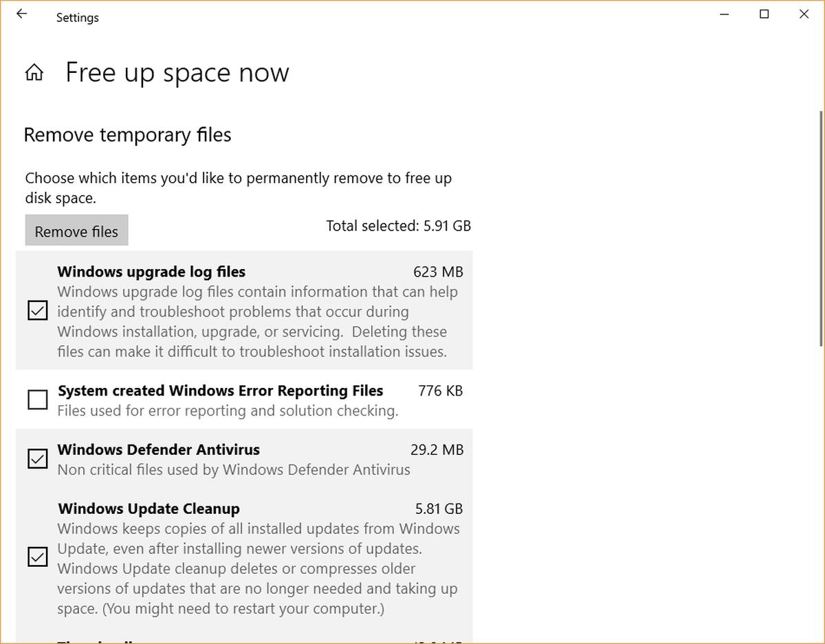 delete or remove temp files in windows 10