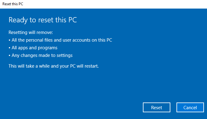 Ready to reset Windows 10
