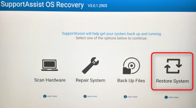 Restore system on Dell computer