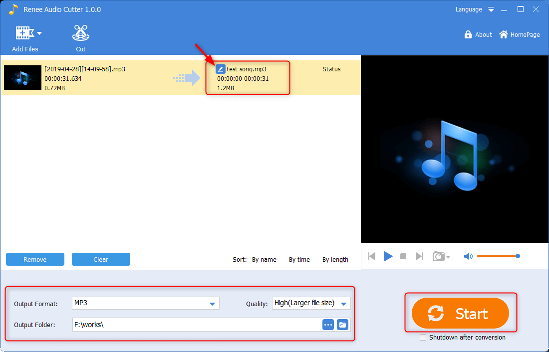 click to start the music output in renee audio tools