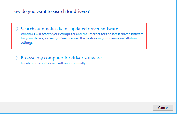 search automatically for updated driver software