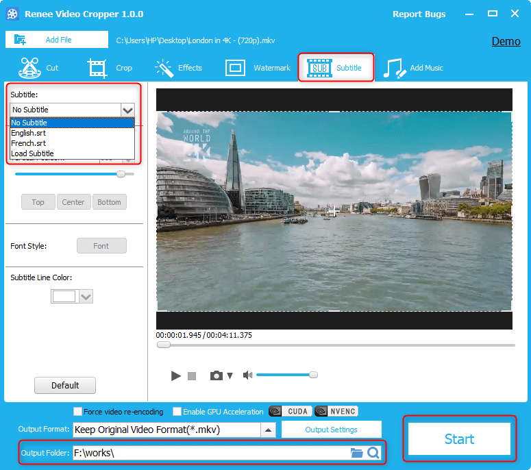 load subtitle files and select the subtitle for the video