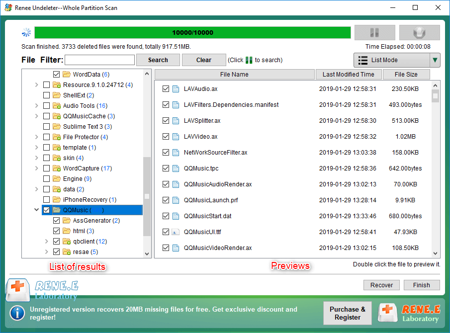 preview and select the files to recover in renee undeleter