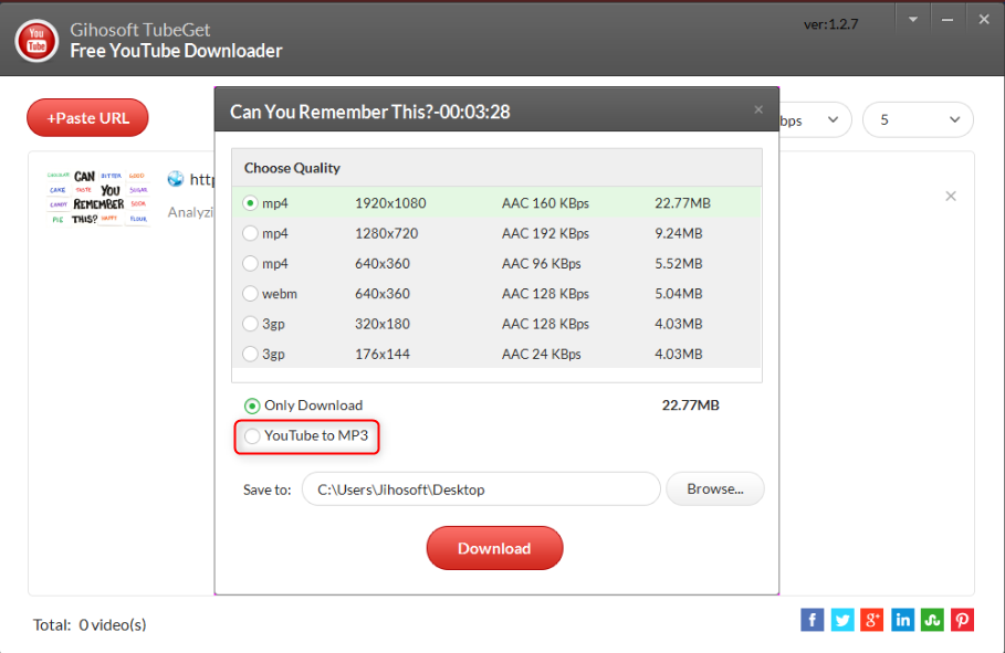check youtube to mp3 to save youtube playlist in Gihosoft TubeGet