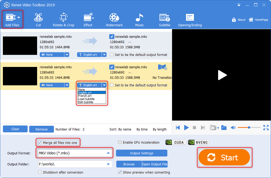 select subtiles and combine video in renee video editor