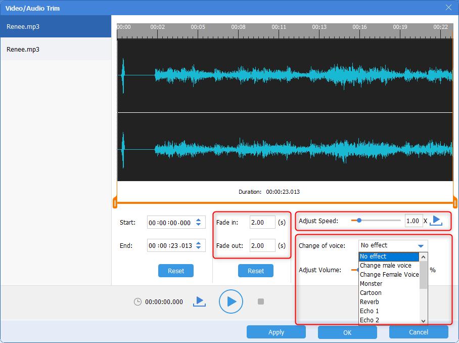 renee audio cutter adjust speed and volume