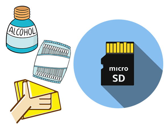 use alchohol cotton buds to clean unsupported sd card