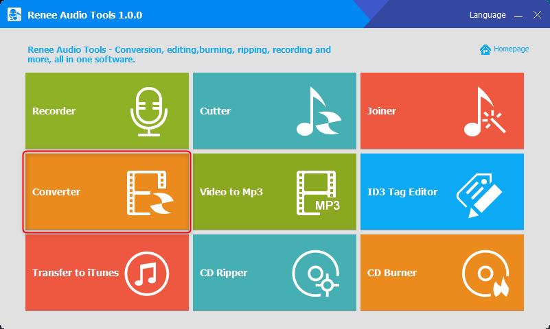 select converter function in renee audio tools