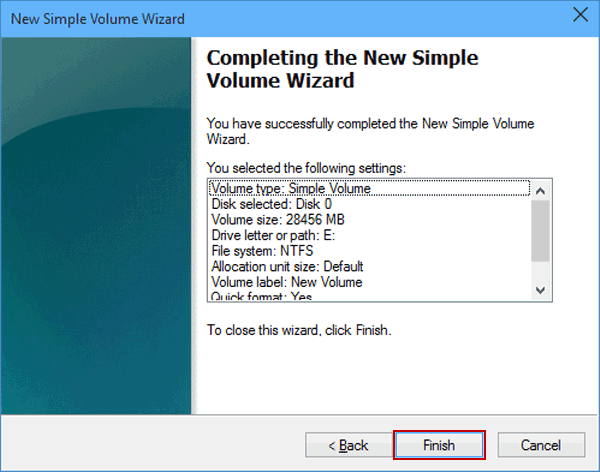 click to finish the new simple volume wizard