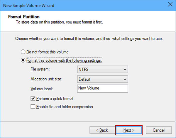 format the volume with the settings
